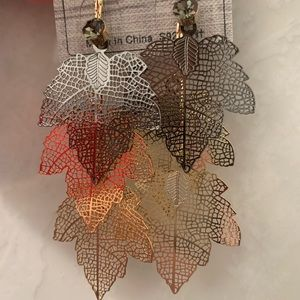 Gold and Silver Cascading Leaves Earrings